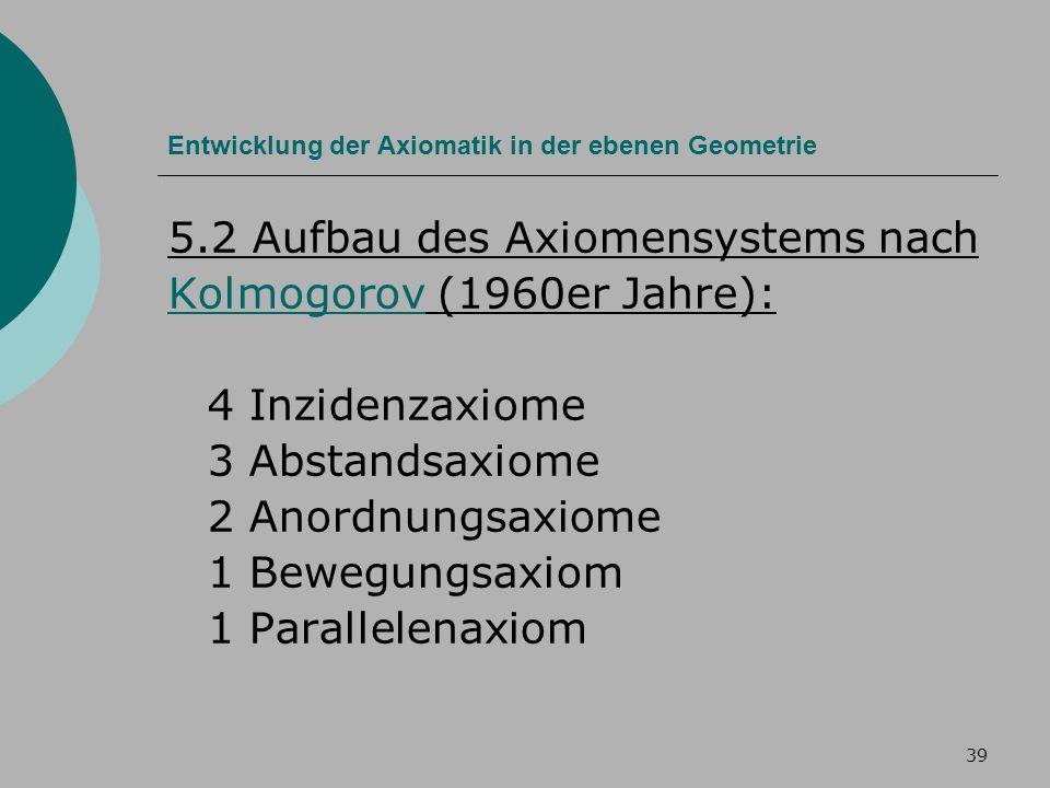 39 Entwicklung der Axiomatik in der ebenen Geometrie 5.2 Aufbau des Axiomensystems nach KolmogorovKolmogorov (1960er Jahre): 4 Inzidenzaxiome 3 Abstandsaxiome 2 Anordnungsaxiome 1 Bewegungsaxiom 1 Parallelenaxiom