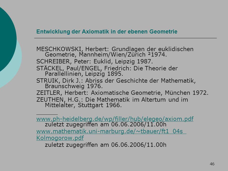 46 Entwicklung der Axiomatik in der ebenen Geometrie MESCHKOWSKI, Herbert: Grundlagen der euklidischen Geometrie, Mannheim/Wien/Zürich ²1974.