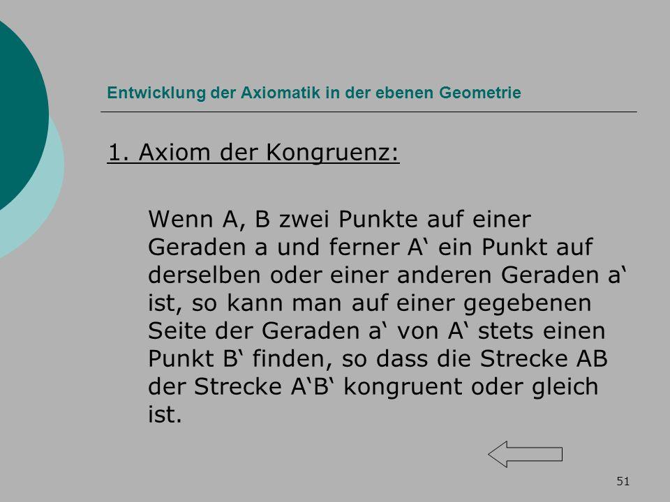 51 Entwicklung der Axiomatik in der ebenen Geometrie 1.