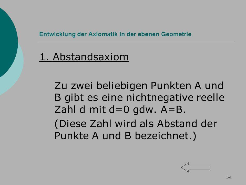 54 Entwicklung der Axiomatik in der ebenen Geometrie 1.