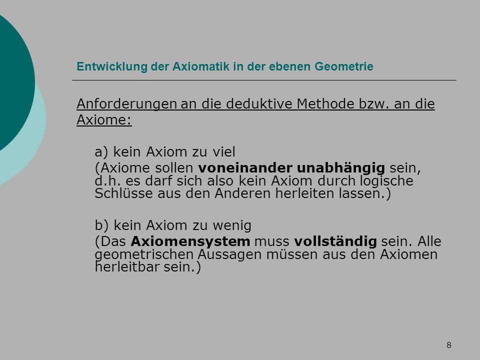8 Entwicklung der Axiomatik in der ebenen Geometrie Anforderungen an die deduktive Methode bzw.