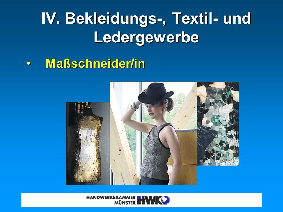 Tischler/inTischler/in Parkettleger/inParkettleger/in Boots- und Schiffsbauer/inBoots- und Schiffsbauer/in III. Holzgewerbe