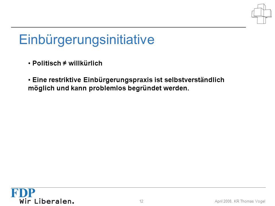13April 2008, KR Thomas Vogel Einbürgerungsinitiative Bundesrat und Parlament lehnen die Initiative ab.