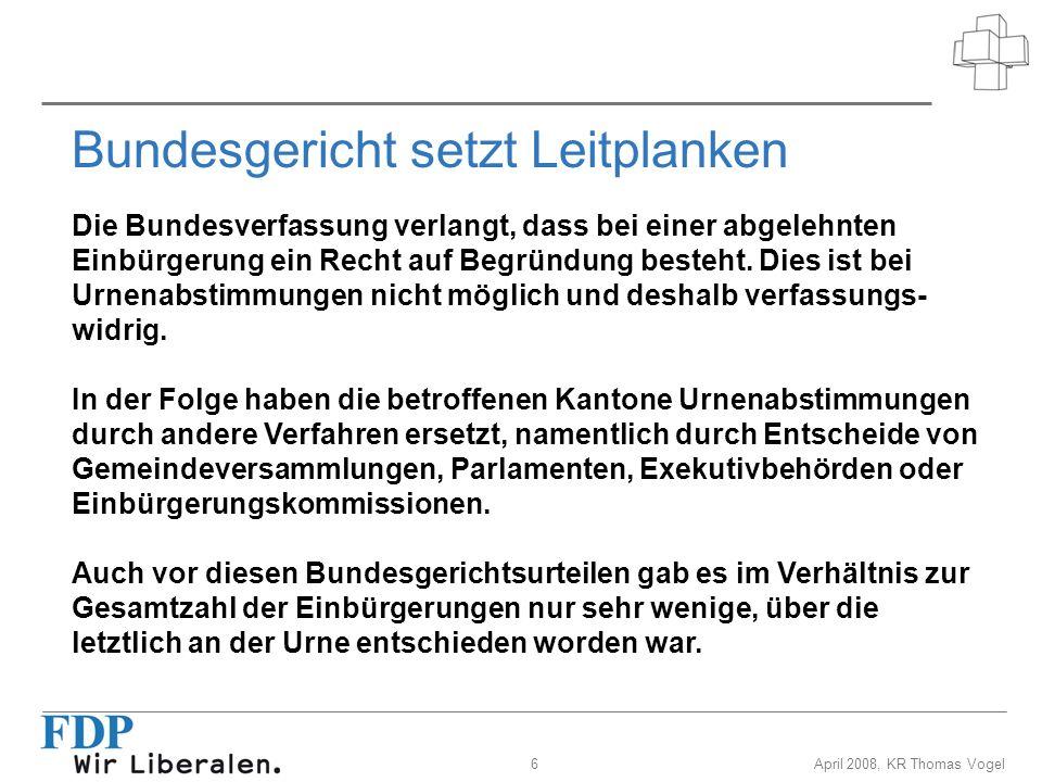 6April 2008, KR Thomas Vogel Bundesgericht setzt Leitplanken Die Bundesverfassung verlangt, dass bei einer abgelehnten Einbürgerung ein Recht auf Begr