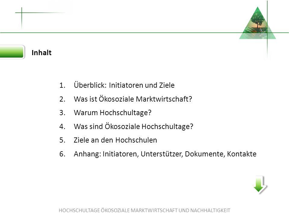 HOCHSCHULTAGE ÖKOSOZIALE MARKTWIRTSCHAFT UND NACHHALTIGKEIT Die Hochschultage werden unterstützt von...
