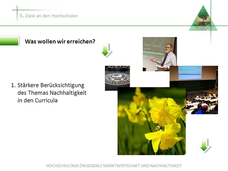 HOCHSCHULTAGE ÖKOSOZIALE MARKTWIRTSCHAFT UND NACHHALTIGKEIT 5. Ziele an den Hochschulen Was wollen wir erreichen? Stärkere Berücksichtigung des Themas