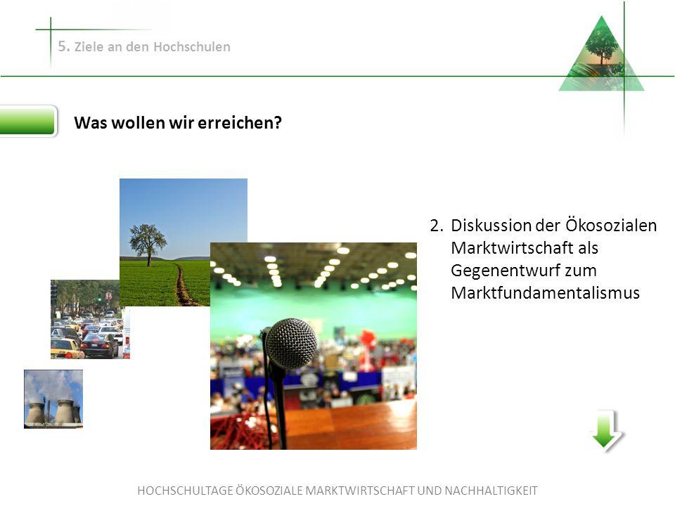 HOCHSCHULTAGE ÖKOSOZIALE MARKTWIRTSCHAFT UND NACHHALTIGKEIT 5. Ziele an den Hochschulen Was wollen wir erreichen? Diskussion der Ökosozialen Marktwirt