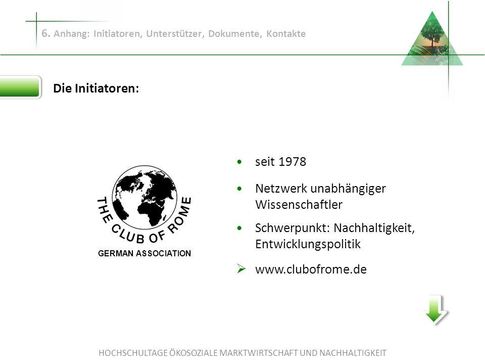 HOCHSCHULTAGE ÖKOSOZIALE MARKTWIRTSCHAFT UND NACHHALTIGKEIT 6. Anhang: Initiatoren, Unterstützer, Dokumente, Kontakte Die Initiatoren: seit 1978 Netzw