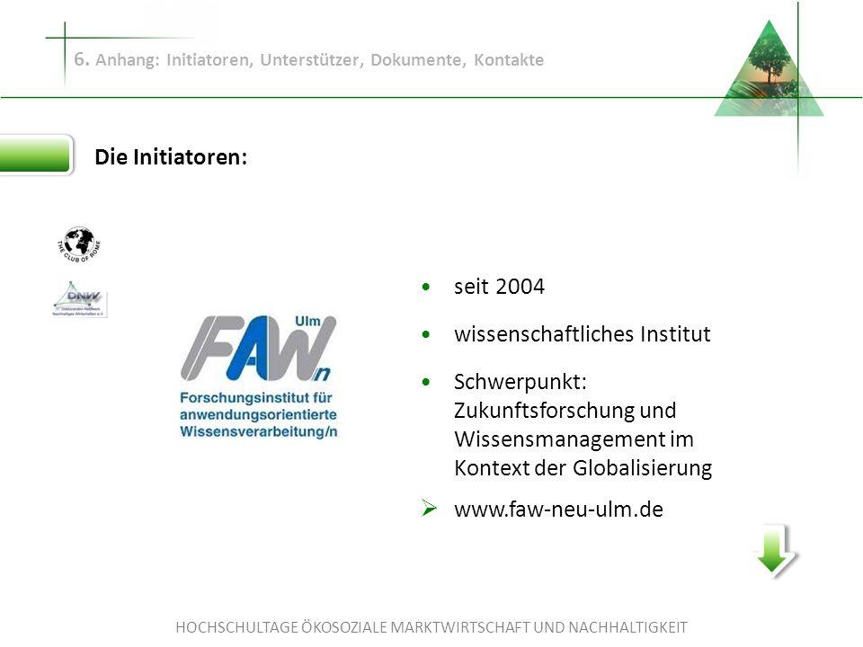 HOCHSCHULTAGE ÖKOSOZIALE MARKTWIRTSCHAFT UND NACHHALTIGKEIT 6. Anhang: Initiatoren, Unterstützer, Dokumente, Kontakte Die Initiatoren: seit 2004 wisse