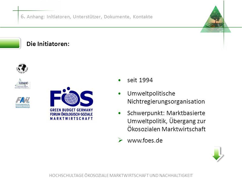 HOCHSCHULTAGE ÖKOSOZIALE MARKTWIRTSCHAFT UND NACHHALTIGKEIT 6. Anhang: Initiatoren, Unterstützer, Dokumente, Kontakte Die Initiatoren: seit 1994 Umwel