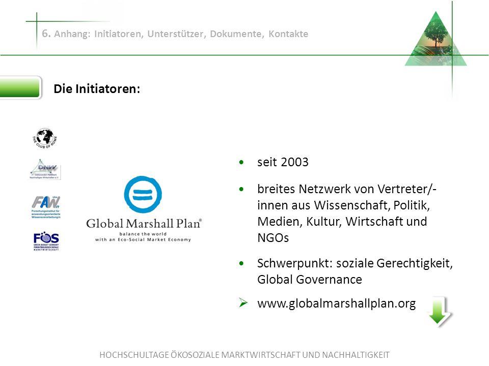 HOCHSCHULTAGE ÖKOSOZIALE MARKTWIRTSCHAFT UND NACHHALTIGKEIT 6. Anhang: Initiatoren, Unterstützer, Dokumente, Kontakte Die Initiatoren: seit 2003 breit