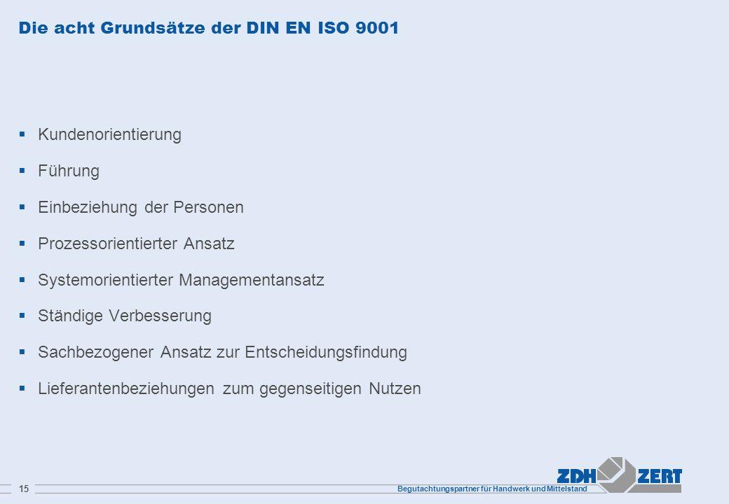 Begutachtungspartner für Handwerk und Mittelstand 15 Die acht Grundsätze der DIN EN ISO 9001 Kundenorientierung Führung Einbeziehung der Personen Proz