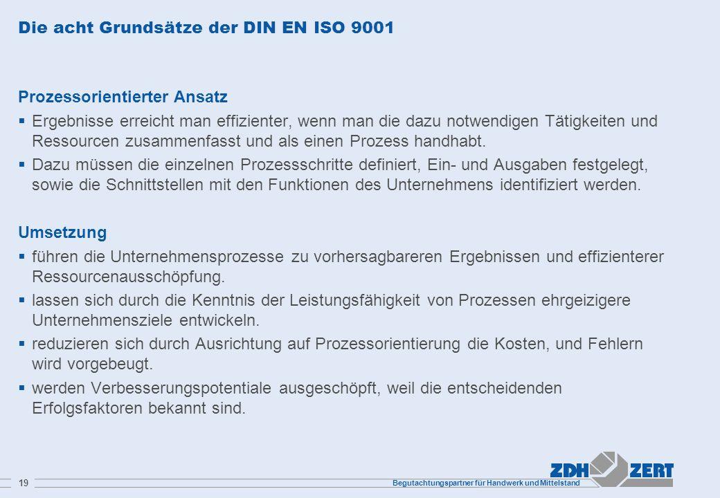 Begutachtungspartner für Handwerk und Mittelstand 19 Die acht Grundsätze der DIN EN ISO 9001 Prozessorientierter Ansatz Ergebnisse erreicht man effizi