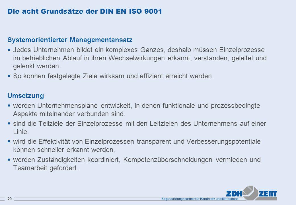 Begutachtungspartner für Handwerk und Mittelstand 20 Die acht Grundsätze der DIN EN ISO 9001 Systemorientierter Managementansatz Jedes Unternehmen bil
