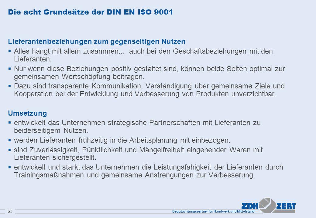 Begutachtungspartner für Handwerk und Mittelstand 23 Die acht Grundsätze der DIN EN ISO 9001 Lieferantenbeziehungen zum gegenseitigen Nutzen Alles hän