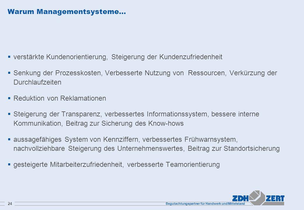 Begutachtungspartner für Handwerk und Mittelstand 24 Warum Managementsysteme… verstärkte Kundenorientierung, Steigerung der Kundenzufriedenheit Senkun