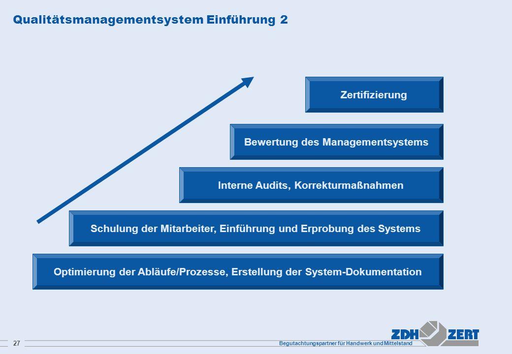 Begutachtungspartner für Handwerk und Mittelstand 27 Qualitätsmanagementsystem Einführung 2 Optimierung der Abläufe/Prozesse, Erstellung der System-Do