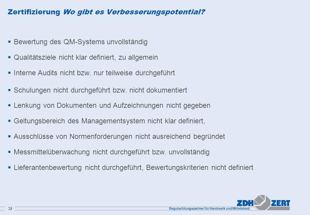 Begutachtungspartner für Handwerk und Mittelstand 32 Zertifizierung Wo gibt es Verbesserungspotential? Bewertung des QM-Systems unvollständig Qualität
