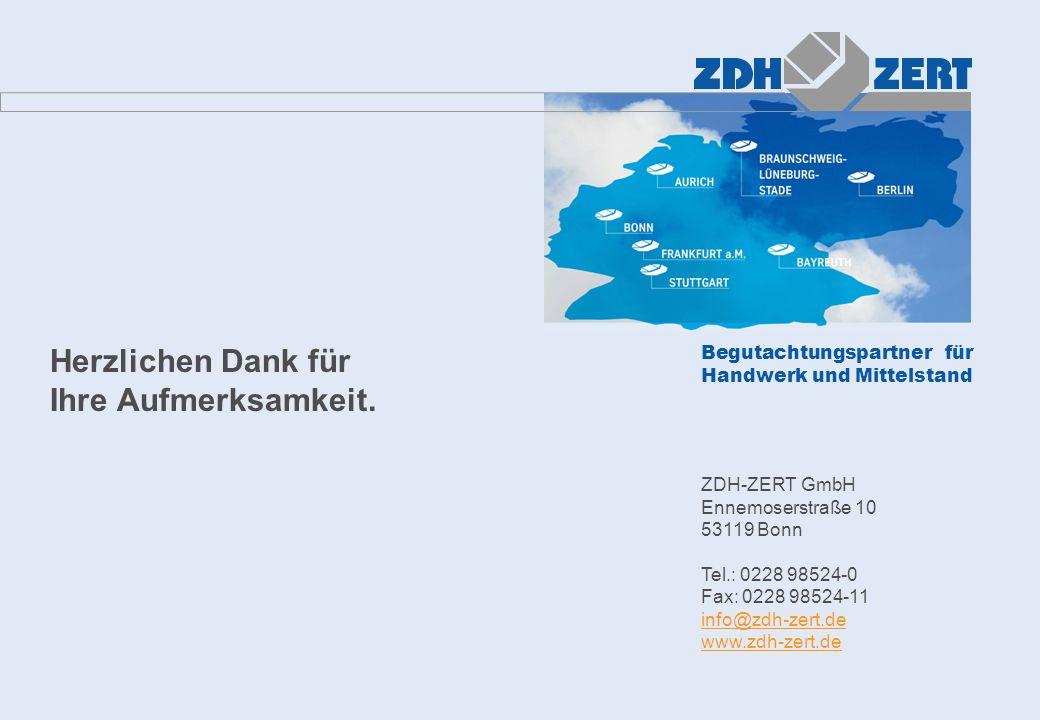 Begutachtungspartner für Handwerk und Mittelstand Herzlichen Dank für Ihre Aufmerksamkeit. ZDH-ZERT GmbH Ennemoserstraße 10 53119 Bonn Tel.: 0228 9852