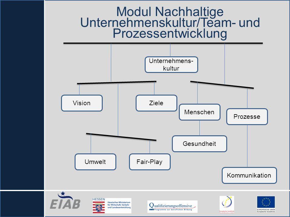 Modul Nachhaltige Unternehmenskultur/Team- und Prozessentwicklung VisionZiele Umwelt Menschen Prozesse Fair-Play Unternehmens- kultur Kommunikation Ge