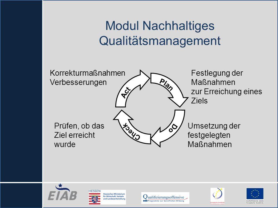 Modul Nachhaltiges Qualitätsmanagement Korrekturmaßnahmen Verbesserungen Festlegung der Maßnahmen zur Erreichung eines Ziels Umsetzung der festgelegte