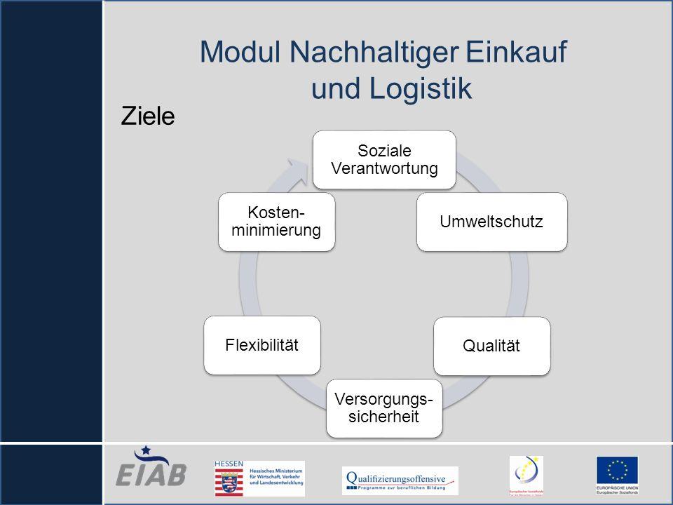 Ziele Soziale Verantwortung UmweltschutzQualität Versorgungs- sicherheit Flexibilität Kosten- minimierung Modul Nachhaltiger Einkauf und Logistik