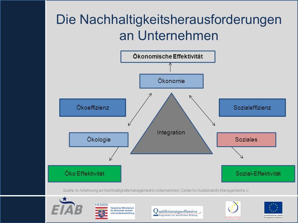 Die Nachhaltigkeitsherausforderungen an Unternehmen Integration Öko Effektivität Ökologie Ökoeffizienz Ökonomie Ökonomische Effektivität Sozialeffizie