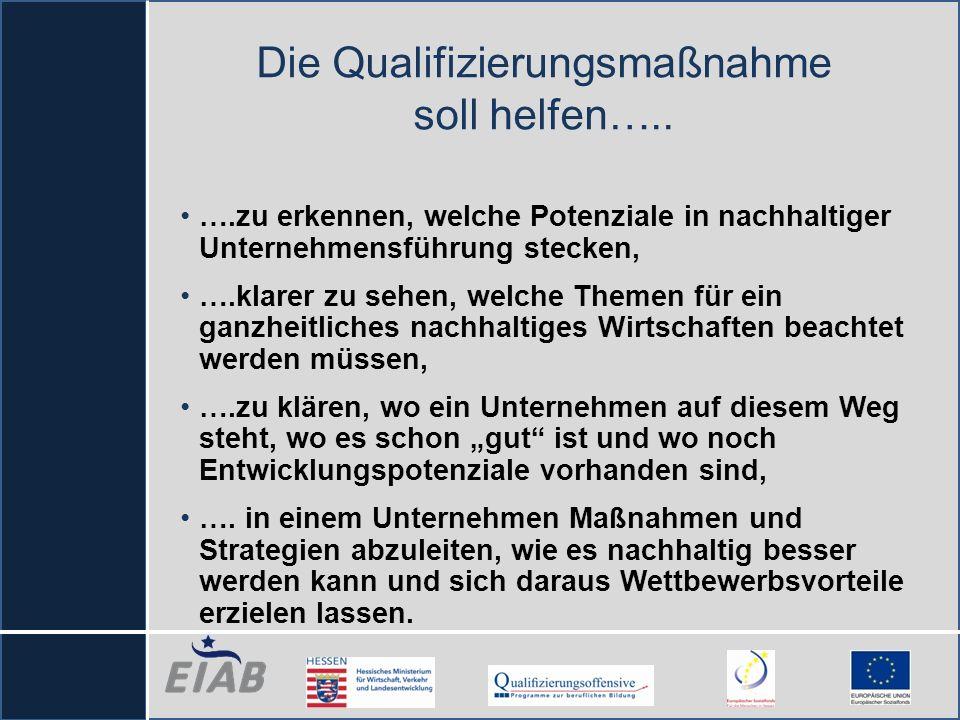 Die Qualifizierungsmaßnahme soll helfen….. ….zu erkennen, welche Potenziale in nachhaltiger Unternehmensführung stecken, ….klarer zu sehen, welche The