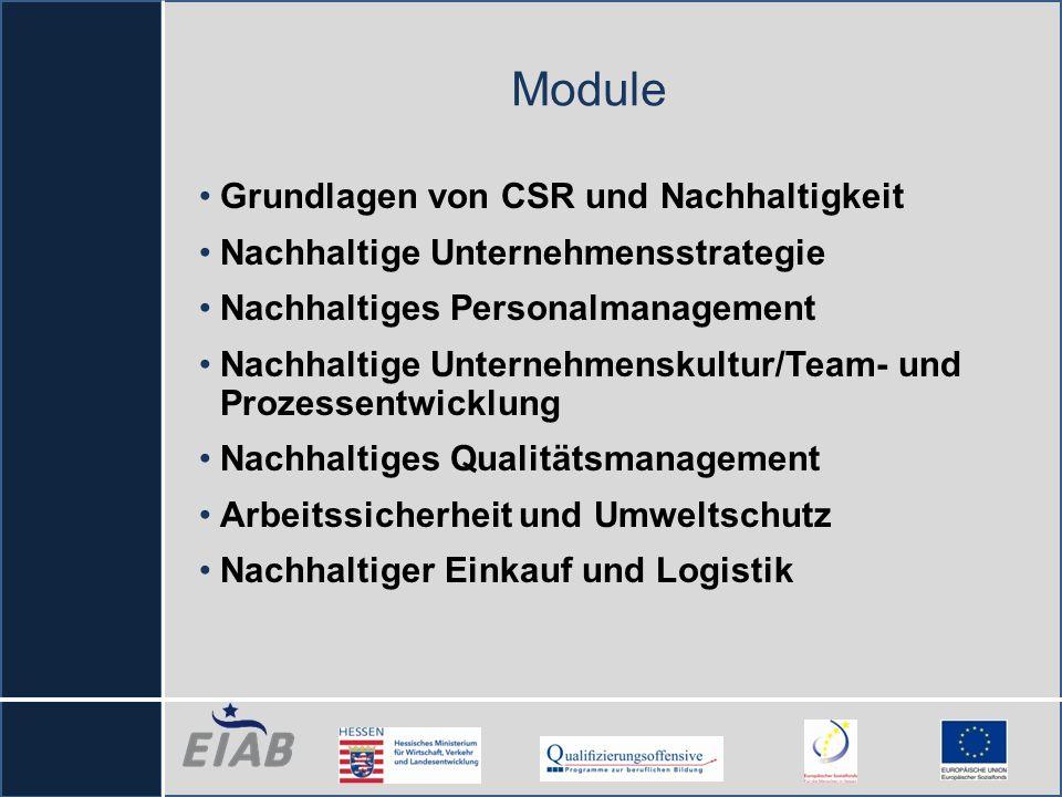 Module Grundlagen von CSR und Nachhaltigkeit Nachhaltige Unternehmensstrategie Nachhaltiges Personalmanagement Nachhaltige Unternehmenskultur/Team- un