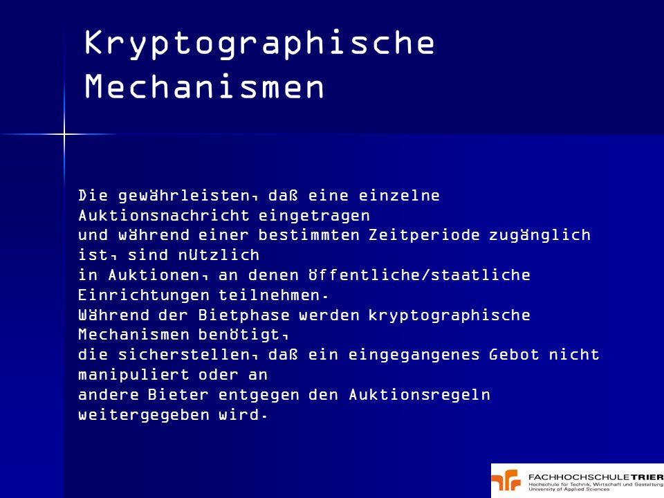Kryptographische Mechanismen Die gewährleisten, daß eine einzelne Auktionsnachricht eingetragen und während einer bestimmten Zeitperiode zugänglich is