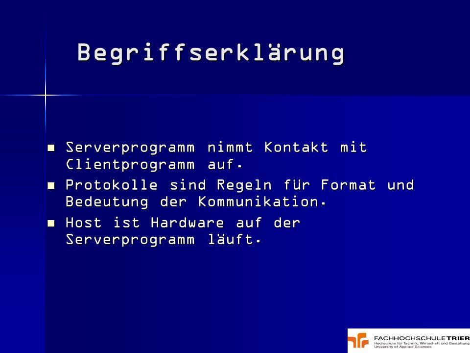Serverprogramm nimmt Kontakt mit Clientprogramm auf. Serverprogramm nimmt Kontakt mit Clientprogramm auf. Protokolle sind Regeln für Format und Bedeut