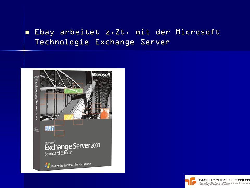 Ebay arbeitet z.Zt. mit der Microsoft Technologie Exchange Server Ebay arbeitet z.Zt. mit der Microsoft Technologie Exchange Server