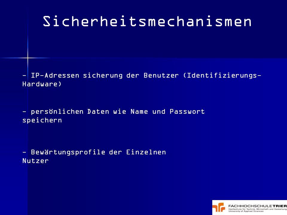 Sicherheitsmechanismen - IP-Adressen sicherung der Benutzer (Identifizierungs- Hardware) - persönlichen Daten wie Name und Passwort speichern - Bewärt
