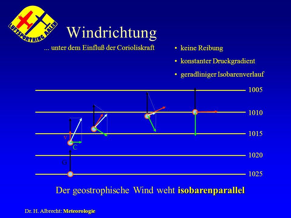 Meteorologie Dr. H. Albrecht: Meteorologie Windrichtung... unter dem Einfluß der Corioliskraft keine Reibung konstanter Druckgradient geradliniger Iso
