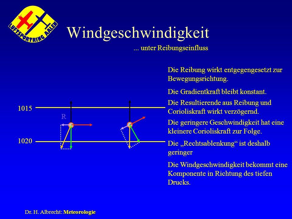 Meteorologie Dr. H. Albrecht: Meteorologie Windgeschwindigkeit... unter Reibungseinfluss R 1020 1015 Die Reibung wirkt entgegengesetzt zur Bewegungsri