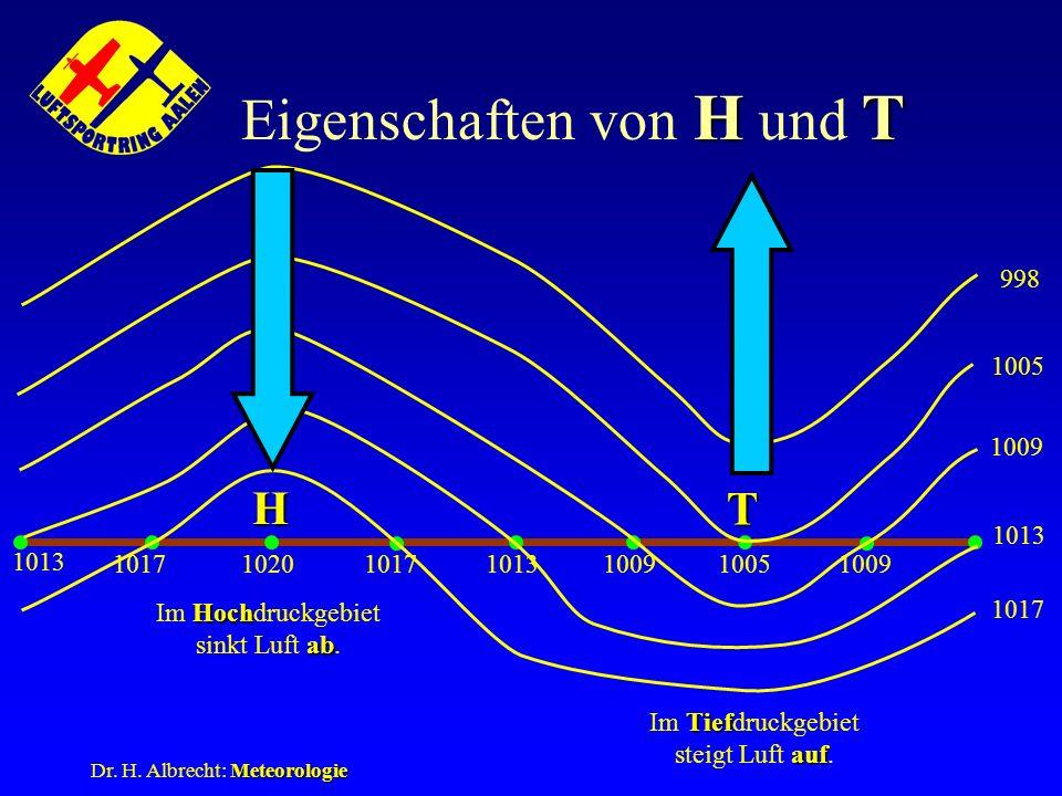 Meteorologie Dr. H. Albrecht: Meteorologie HT Eigenschaften von H und T 1013 102010051017 1009 1017 1009 1005 998 Hoch ab Im Hochdruckgebiet sinkt Luf