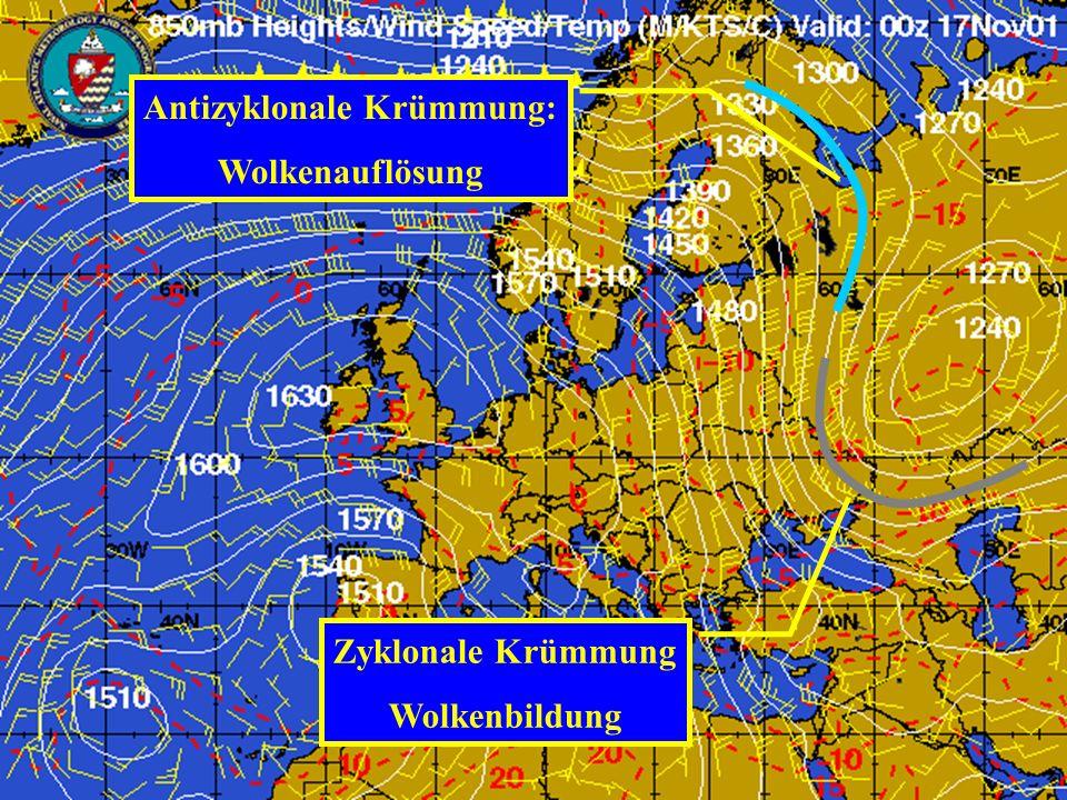 Meteorologie Dr. H. Albrecht: Meteorologie Antizyklonale Krümmung: Wolkenauflösung Zyklonale Krümmung Wolkenbildung