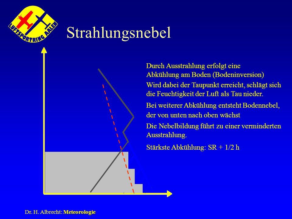 Meteorologie Dr. H. Albrecht: Meteorologie Strahlungsnebel Durch Ausstrahlung erfolgt eine Abkühlung am Boden (Bodeninversion) Wird dabei der Taupunkt
