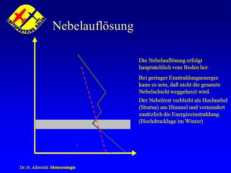 Meteorologie Dr. H. Albrecht: Meteorologie Nebelauflösung Die Nebelauflösung erfolgt hauptsächlich vom Boden her. Bei geringer Einstrahlungsenergie ka