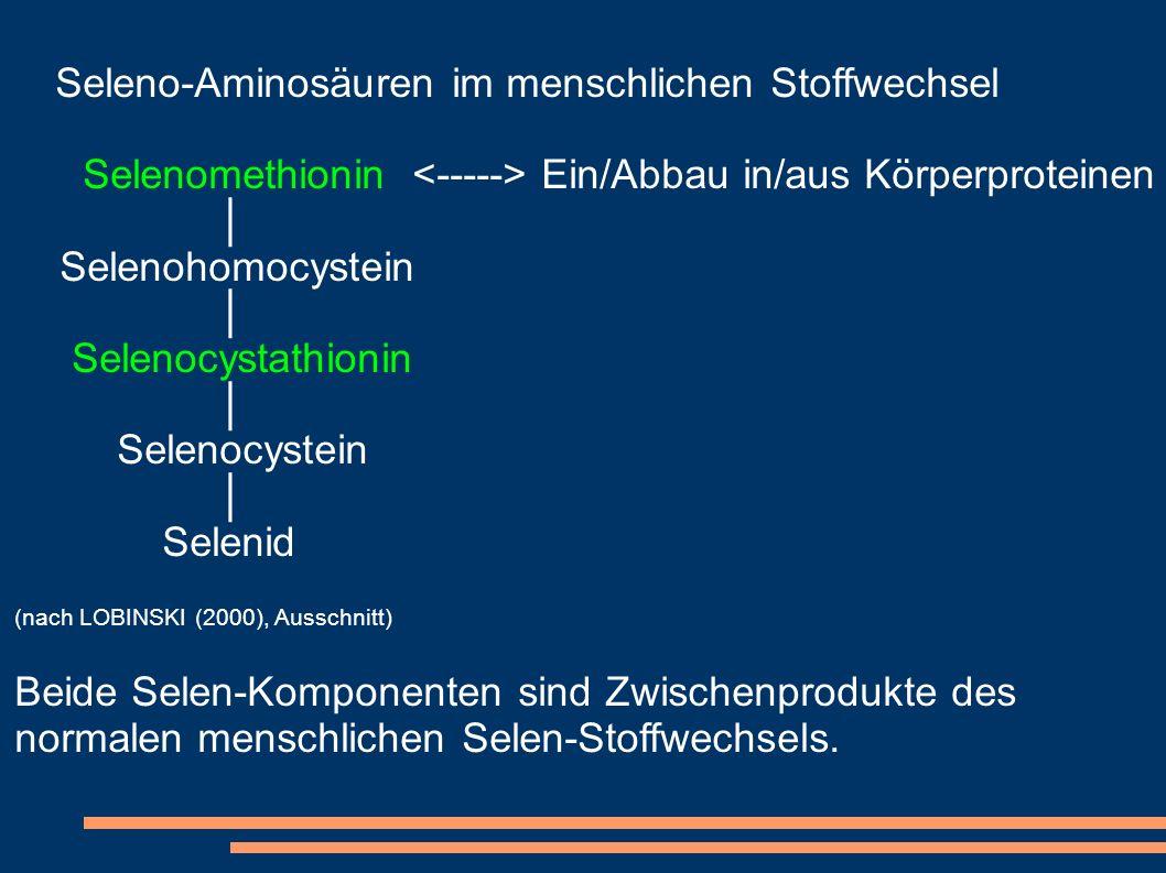 Seleno-Aminosäuren im menschlichen Stoffwechsel Selenomethionin Ein/Abbau in/aus Körperproteinen Selenohomocystein Selenocystathionin Selenocystein Se