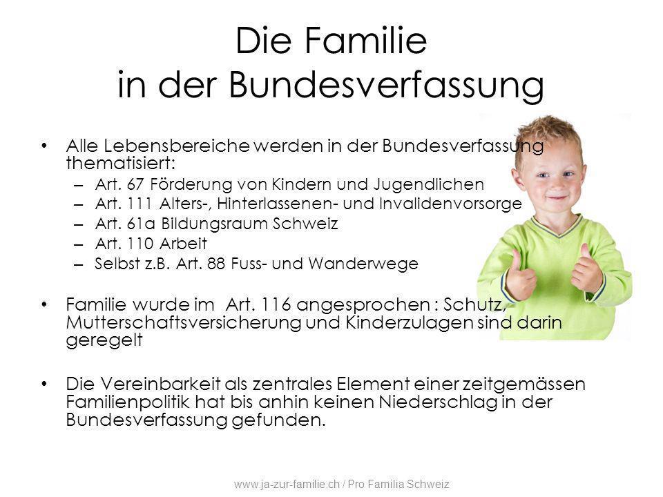 Die Familie in der Bundesverfassung Alle Lebensbereiche werden in der Bundesverfassung thematisiert: – Art. 67 Förderung von Kindern und Jugendlichen