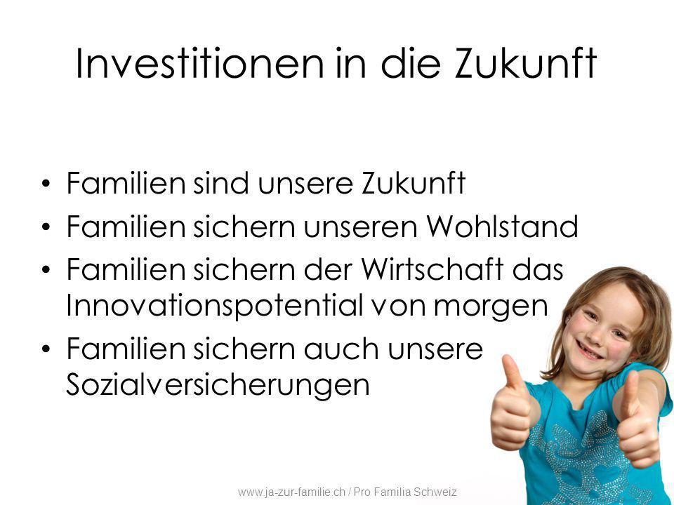Investitionen in die Zukunft Familien sind unsere Zukunft Familien sichern unseren Wohlstand Familien sichern der Wirtschaft das Innovationspotential