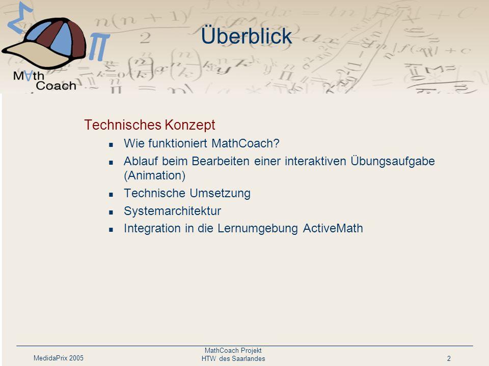MedidaPrix 2005 MathCoach Projekt HTW des Saarlandes2 Überblick Technisches Konzept Wie funktioniert MathCoach? Ablauf beim Bearbeiten einer interakti