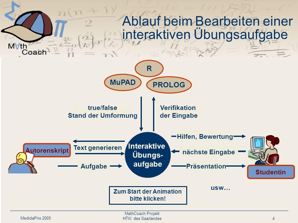 MedidaPrix 2005 MathCoach Projekt HTW des Saarlandes4 Text generieren Autorenskript Interaktive Übungs- aufgabe AufgabePräsentation Eingabe Verifikati