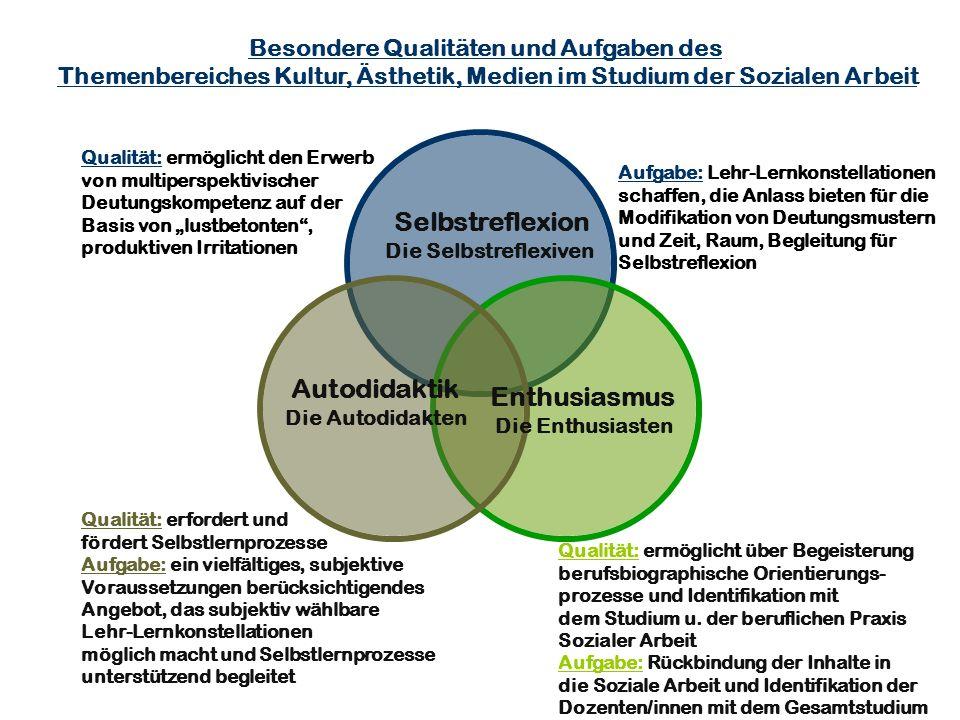 Autodidaktik Die Autodidakten Enthusiasmus Die Enthusiasten Selbstreflexion Die Selbstreflexiven Besondere Qualitäten und Aufgaben des Themenbereiches