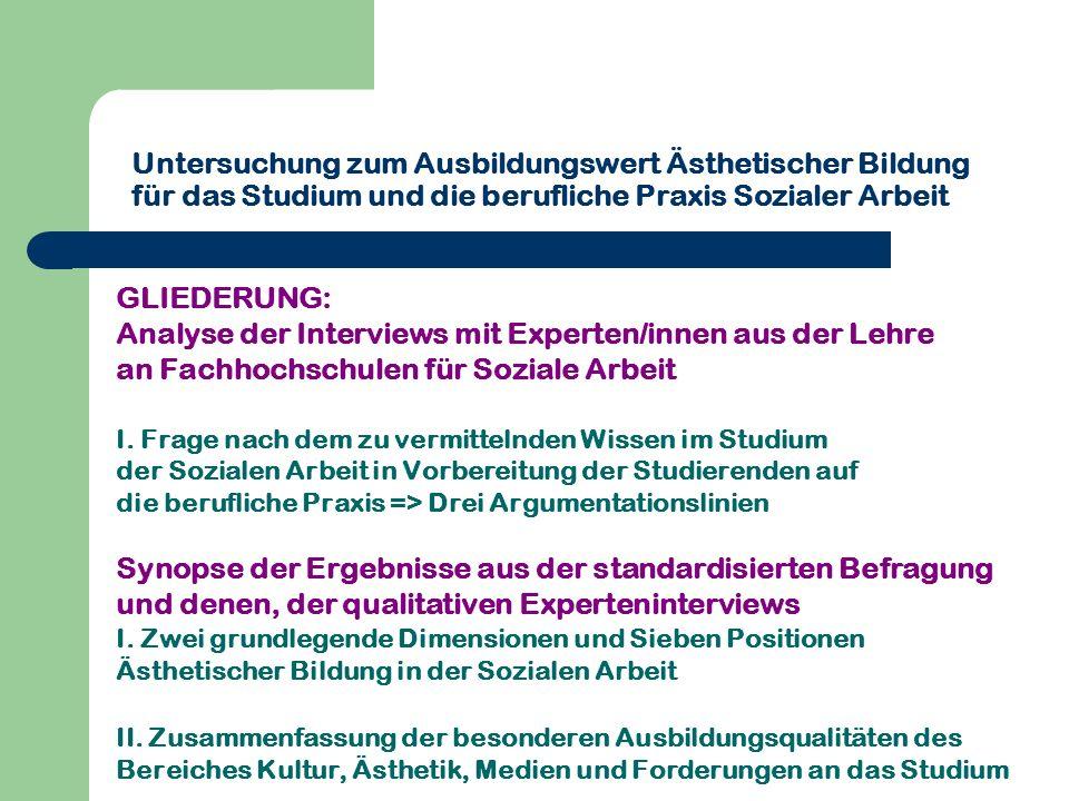 Untersuchung zum Ausbildungswert Ästhetischer Bildung für das Studium und die berufliche Praxis Sozialer Arbeit GLIEDERUNG: Analyse der Interviews mit