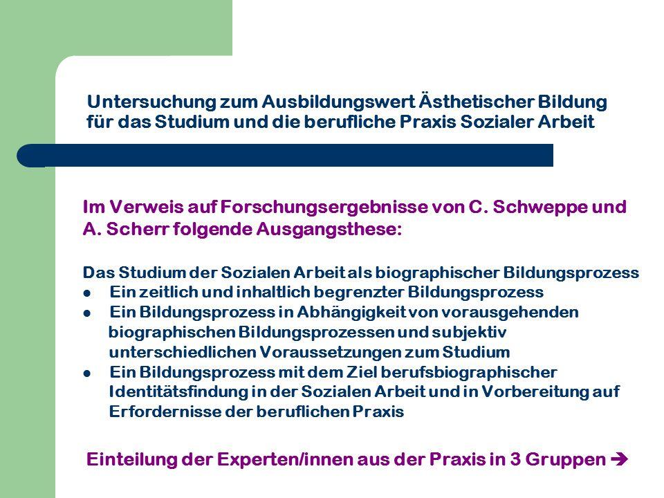 Untersuchung zum Ausbildungswert Ästhetischer Bildung für das Studium und die berufliche Praxis Sozialer Arbeit Im Verweis auf Forschungsergebnisse vo