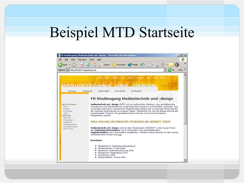 Beispiel MTD Startseite