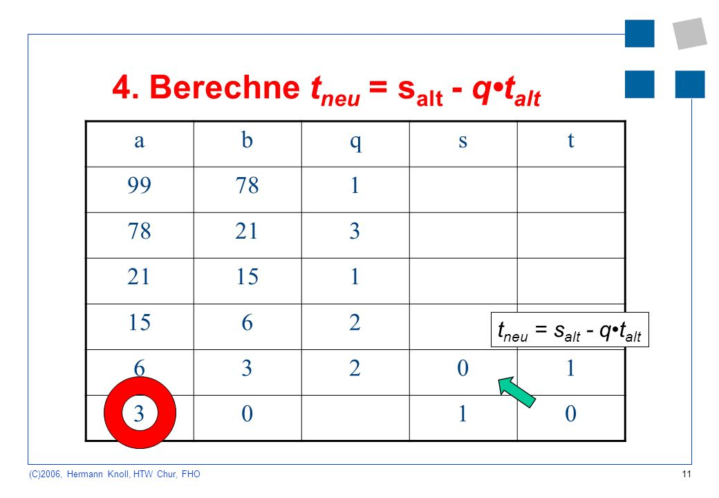 11 (C)2006, Hermann Knoll, HTW Chur, FHO 4. Berechne t neu = s alt - qt alt abqst 99781 213 151 62 63201 3010 t neu = s alt - qt alt