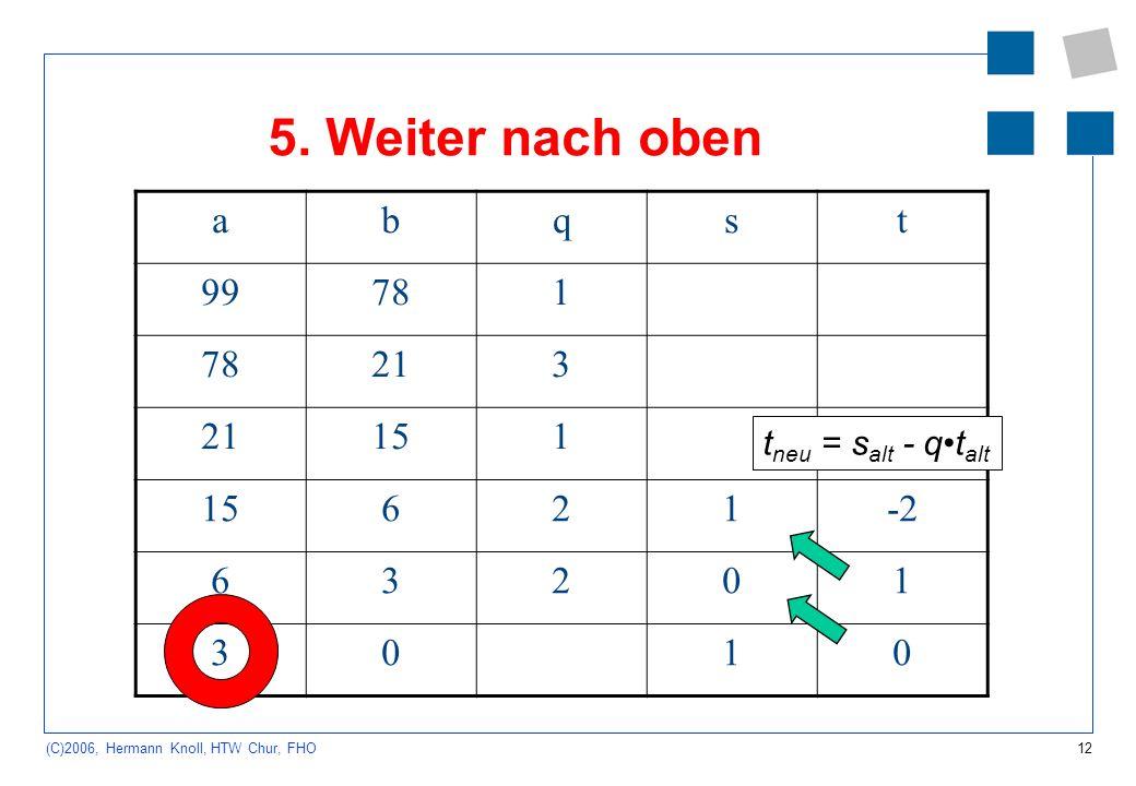 12 (C)2006, Hermann Knoll, HTW Chur, FHO 5. Weiter nach oben abqst 99781 213 151 621-2 63201 3010 t neu = s alt - qt alt
